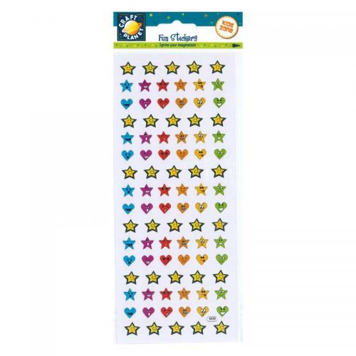 Craft Planet Fun Stickers - Heart & Star Smilies