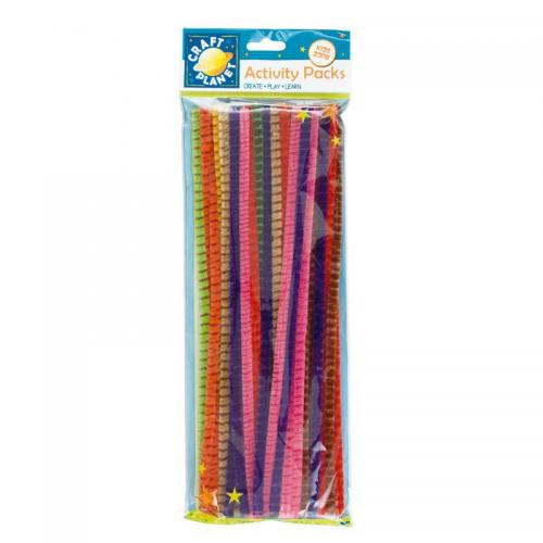 Craft Planet Chenille Striped Stems (50pk)