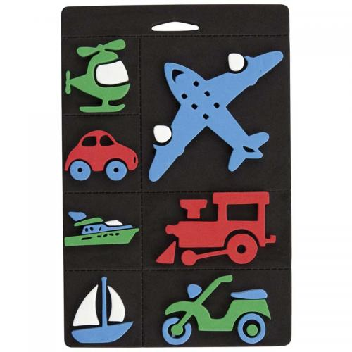 Craft Planet Foam Stamp Set - Trains, Planes & Transport