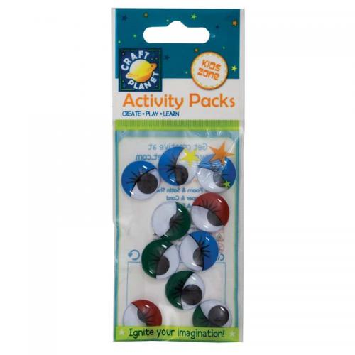 Craft Planet Wiggle Eyes (10pcs) Round - Painted (18mm)