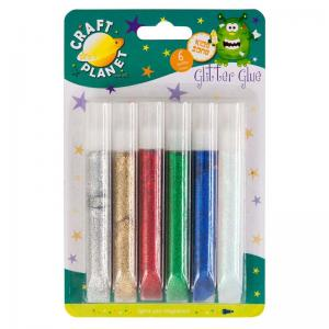 Craft Planet 10ml Glitter Glue Tubes (6pk)