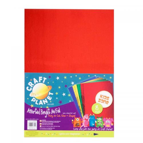 Craft Planet A4 Card Foil (8pk, 250gsm) - Assorted