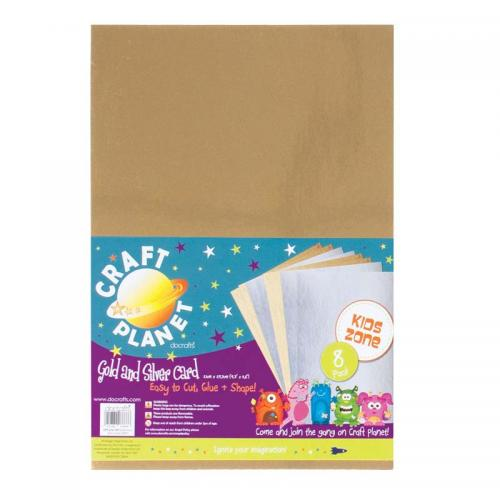 Craft Planet A4 Card (8pk, 250gsm) - Gold & Silver
