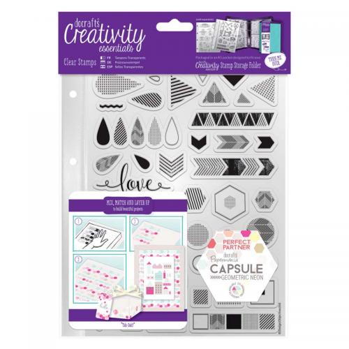 CE A5 Clear Stamp Set (45pcs) - Capsule - Geometric Neon