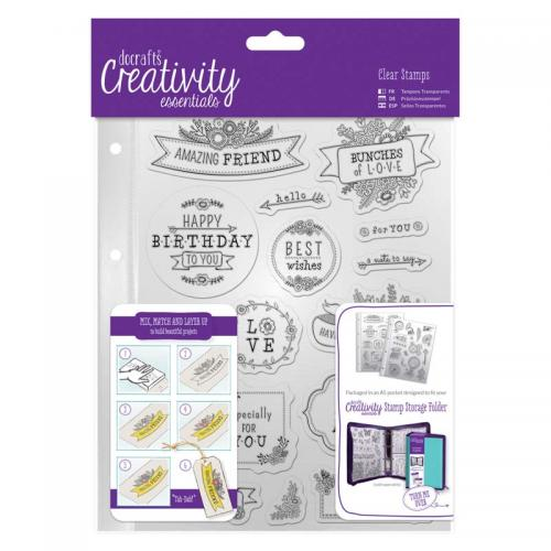 CE A5 Clear Stamp Set (16pcs) - Folk Sentiment