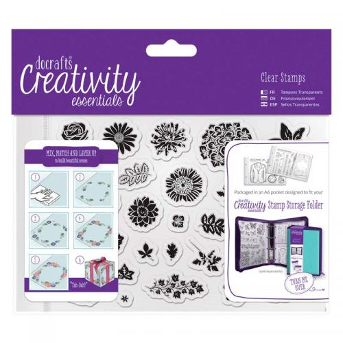 CE A6 Clear Stamp Set (30pcs) - Trad Floral
