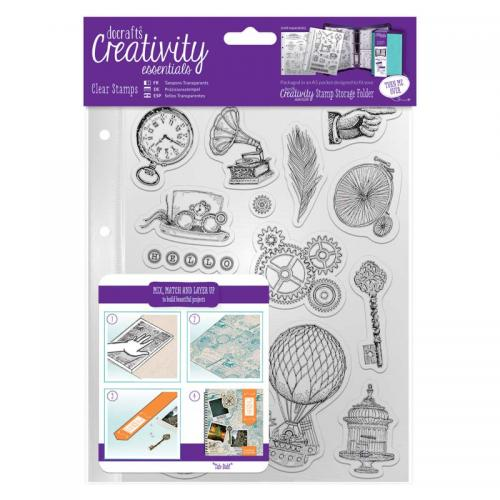 CE A5 Clear Stamp Set (16pcs) - Steampunk