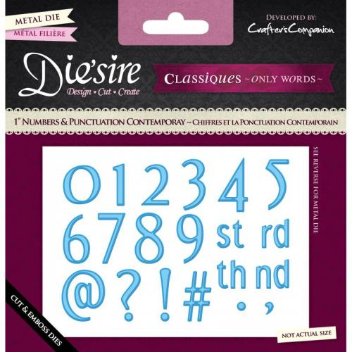 "Diesire - 1"" Numbers and Punctuation - Contemporary"