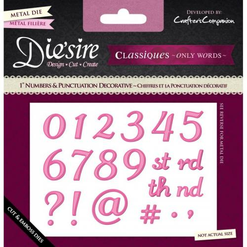 "Diesire - 1"" Numbers and Punctuation - Decorative"