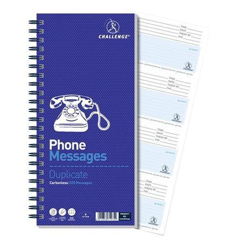 Challenge Carbonless Duplicate Telephone Messages Book