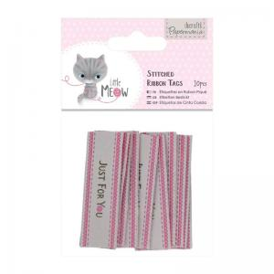 Papermania Stitched Ribbon Tags (10pcs) - Little Meow