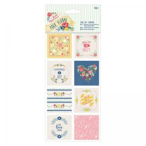 Papermania Tear Off Toppers (16pcs) - Folk Floral