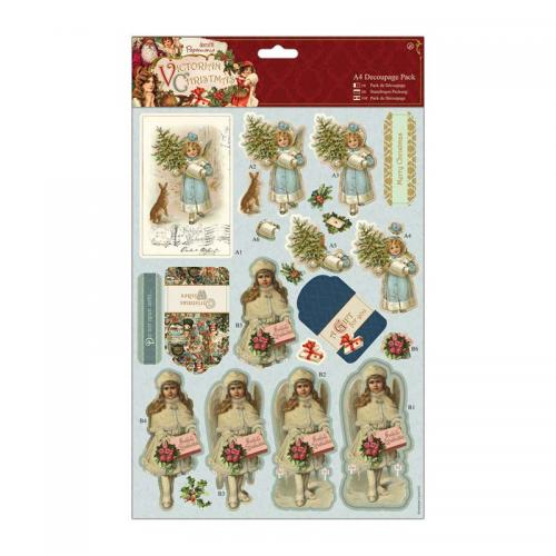 Papermania A4 Decoupage Pack - Victorian Christmas - Boy & Girl