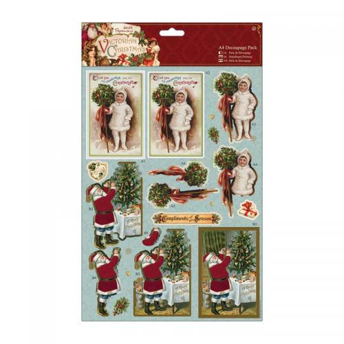 Papermania A4 Decoupage Pack - Victorian Christmas - Holly