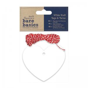 Papermania White Kraft Tags & Twine - Hearts (20pk)