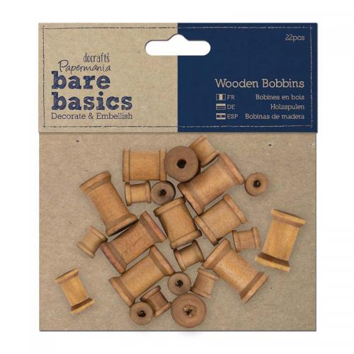 Papermania Wooden Bobbins (22pcs)