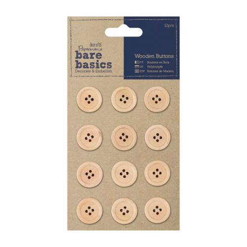 Papermania Wooden Buttons (12pcs) - Natural