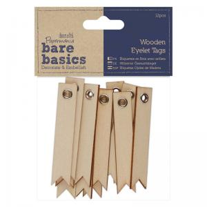 Papermania Wooden Eyelet Tags (12pcs)