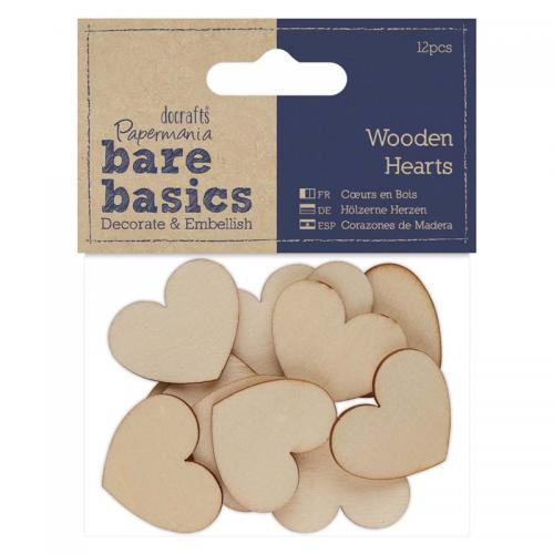 Papermania Wooden Hearts (12pcs)