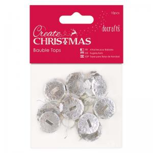 Create Christmas Bauble Tops (10pcs) - Silver