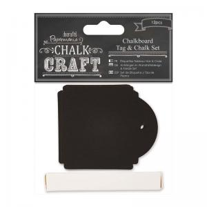 Papermania Chalkboard Tag & Chalk Set (12pcs) - Square