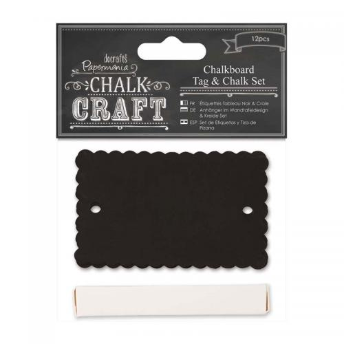 Papermania Chalkboard Tag & Chalk Set (12pcs) - Scalloped