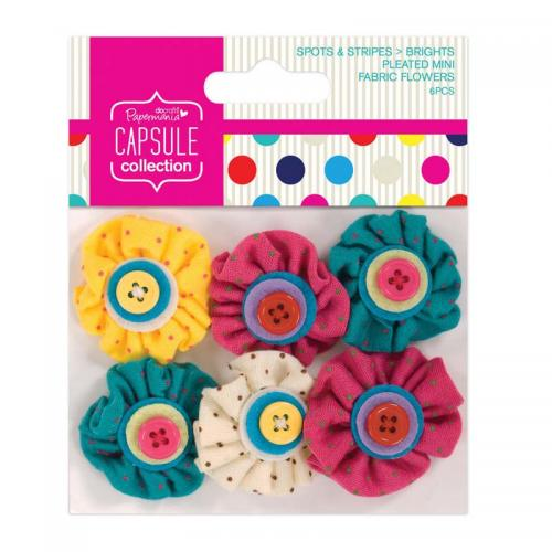 Mini Fabric Flowers (6pcs) Spots & Stripes