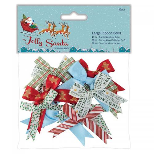 Large Ribbon Bows (12pcs) - Jolly Santa
