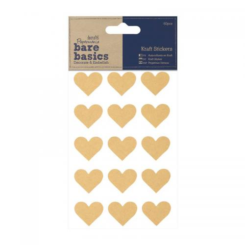 Kraft Stickers (60pcs) - Hearts
