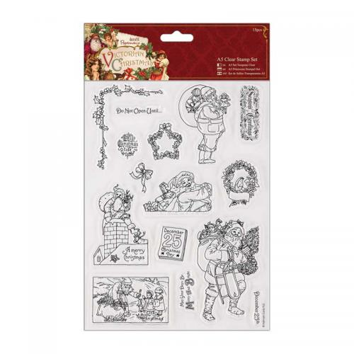A5 Clear Stamps Set (15pcs) - Victorian Christmas - Santa