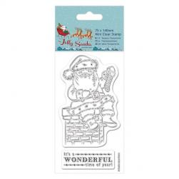 75 x 140mm Mini Clear Stamp - Jolly Santa - Chimney
