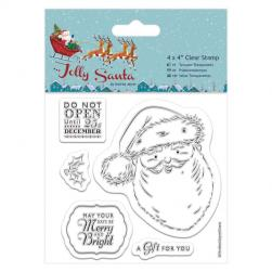 "4 x 4"" Clear Stamps (5pcs) - Jolly Santa - Santa"